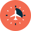 Icon of clock and plane
